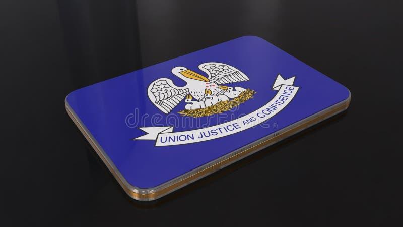 在黑背景隔绝的路易斯安那3D光滑的旗子对象 皇族释放例证