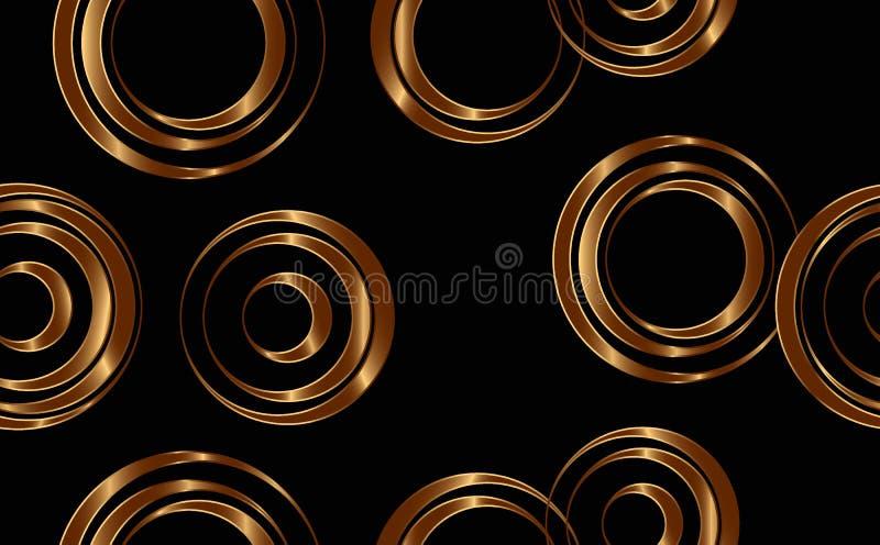 ?? 在黑背景隔绝的金圈子 与抽象几何的无缝的背景,形状 设计,网的构成 皇族释放例证