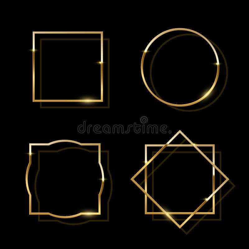 在黑背景隔绝的金黄发光的框架 传染媒介金黄豪华现实边界集合 库存例证