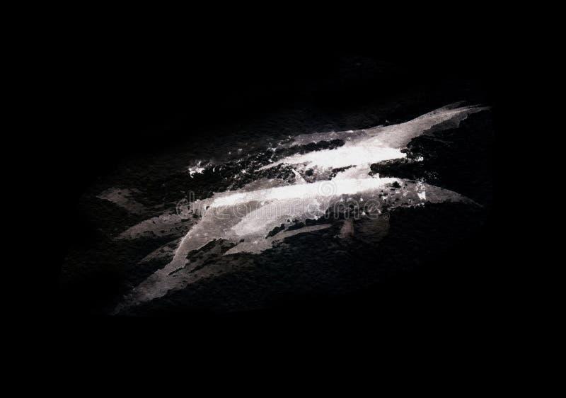在黑背景隔绝的难看的东西灰色飞溅 r r ?? 皇族释放例证