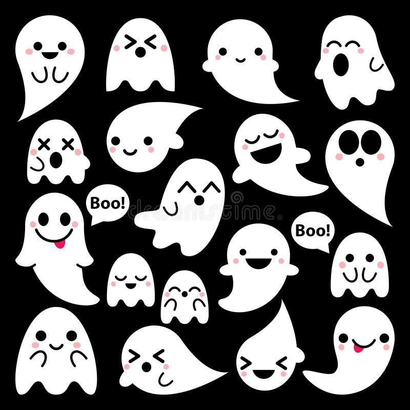 在黑背景,万圣夜设计集合, Kawaii鬼魂汇集的逗人喜爱的传染媒介鬼魂象 向量例证