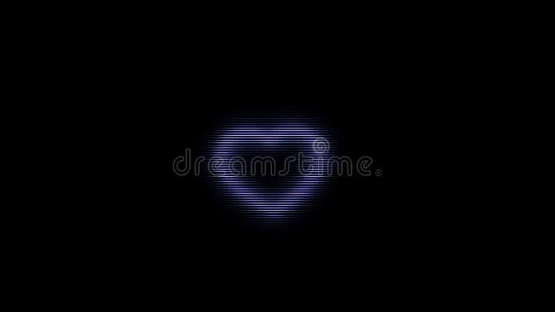 在黑背景,小故障干涉的抽象发光的映象点心脏 o 噪声屏幕和紫心勋章标志 库存例证