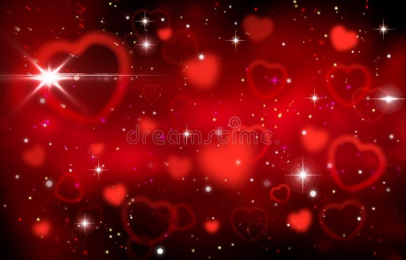 在黑背景,爱,情人节,被弄脏的bokeh背景,满天星斗的天空,星,夜,闪烁,焕发,浪漫史的红心, 皇族释放例证