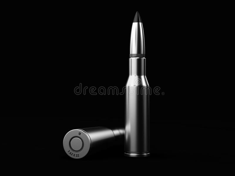在黑背景, 3d的黑白子弹例证 向量例证