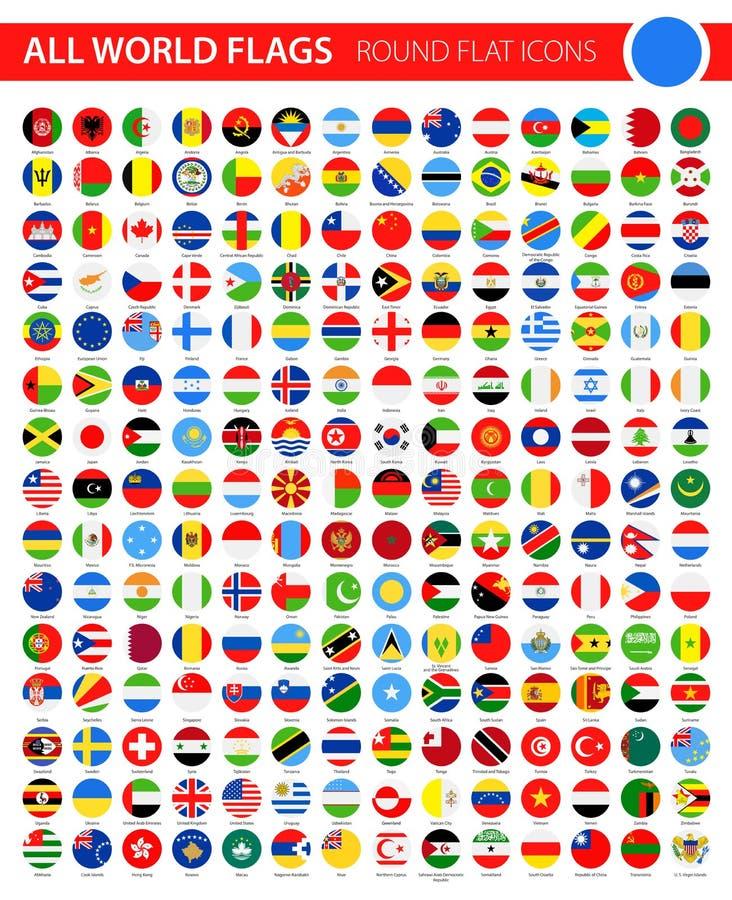 在黑背景-所有世界传染媒介的圆的平的旗子象 向量例证