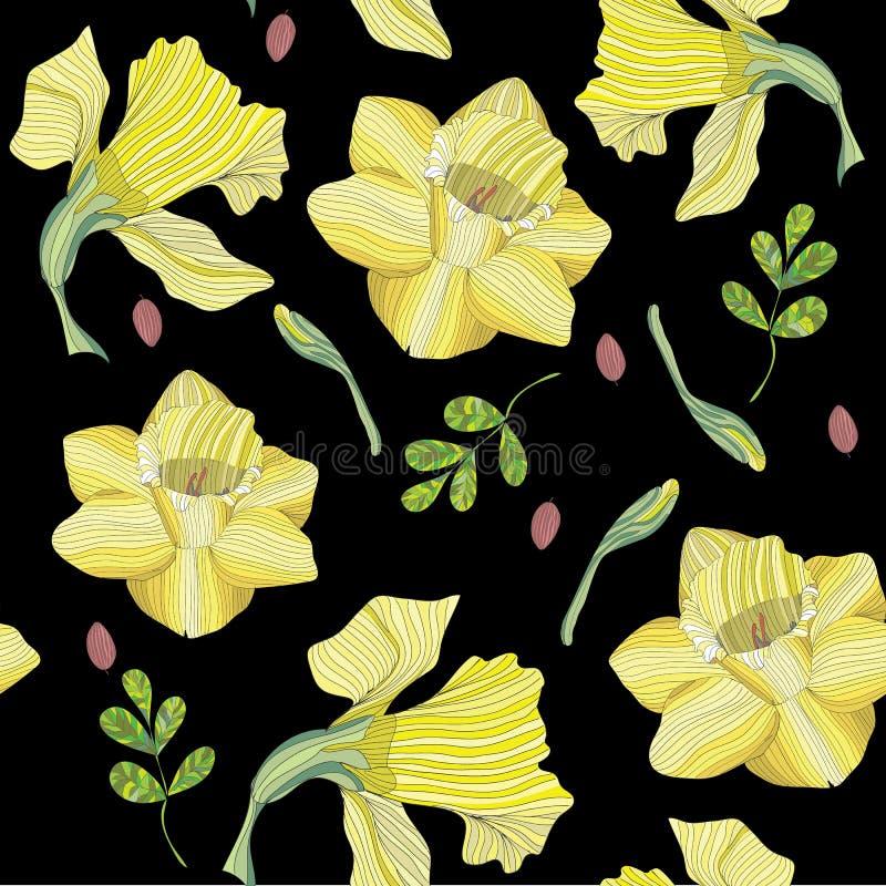 在黑背景-无缝的样式的黄色黄水仙-传染媒介 皇族释放例证