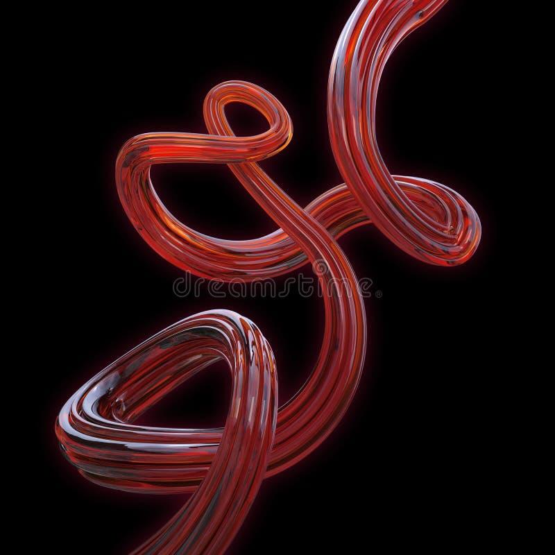 在黑色查出的抽象3d红色玻璃线路 皇族释放例证