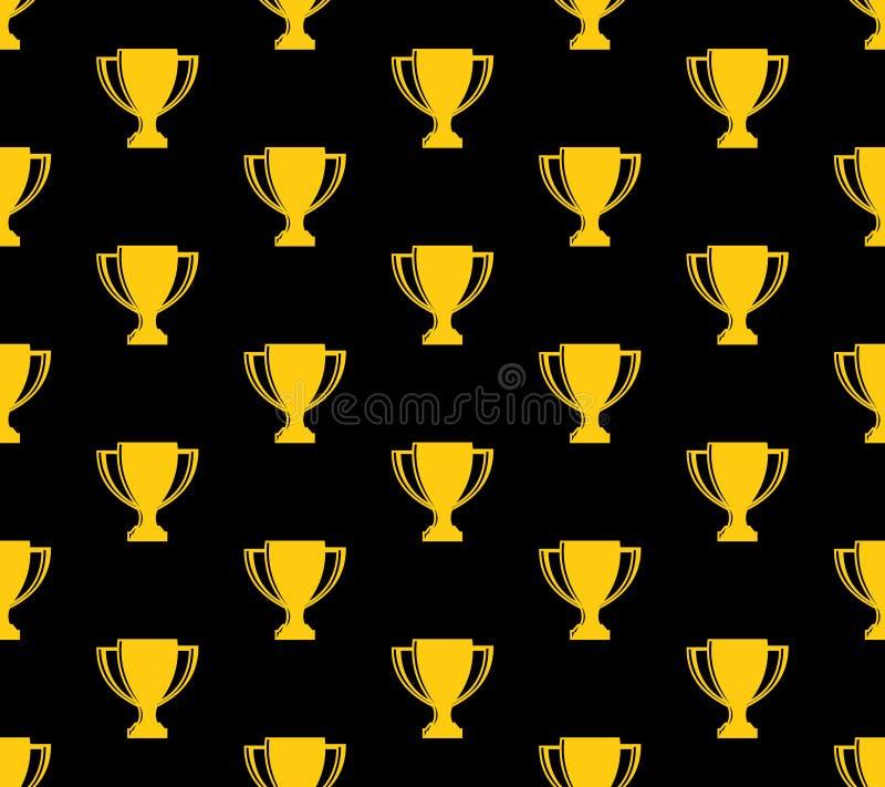 在黑色的优胜者杯子战利品无缝的样式背景黄色 向量例证