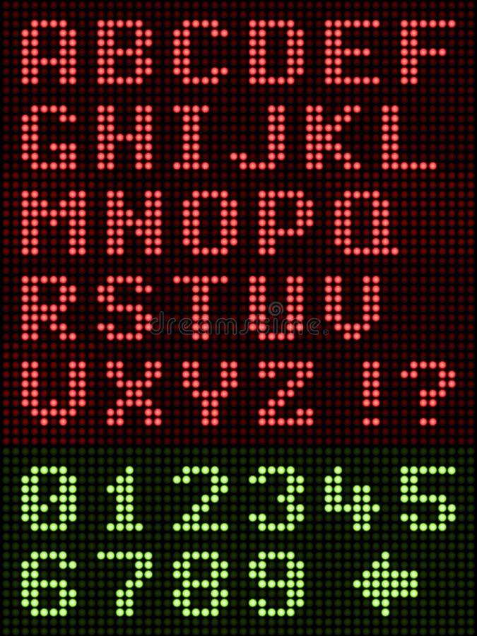 在黑色的字母数字字母表字体LED显示 库存例证