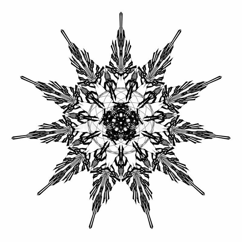 在黑色的抽象星蔓藤花纹在白色背景 古老Geometrics坛场 ?corel?????? 向量例证