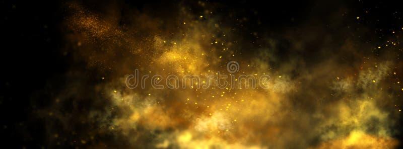 在黑色的抽象砂金背景 美好的金黄艺术宽银幕背景 免版税库存照片