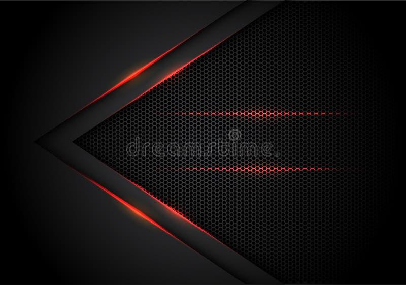 在黑色的抽象红灯箭头与六角形滤网设计现代豪华未来派技术背景传染媒介 皇族释放例证