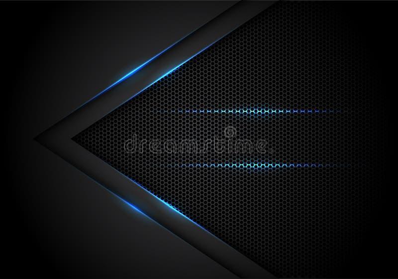 在黑色的抽象蓝色轻的箭头与六角形滤网设计现代豪华未来派技术背景传染媒介 库存例证