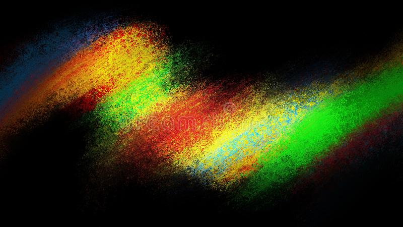 在黑色的抽象颜色飞溅设计与发光的充满活力的颜色的红色黄色蓝色和绿色在黑背景 皇族释放例证