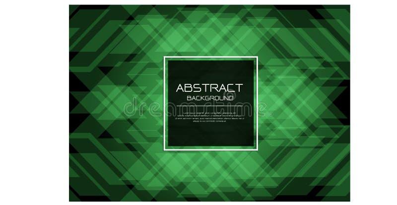 在黑色的摘要传染媒介豪华绿色鲜绿色样式有方形的横幅白色框架模板设计现代背景 皇族释放例证