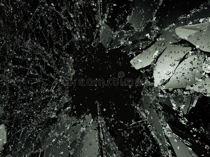 在黑色的被打碎的或被拆毁的玻璃 皇族释放例证