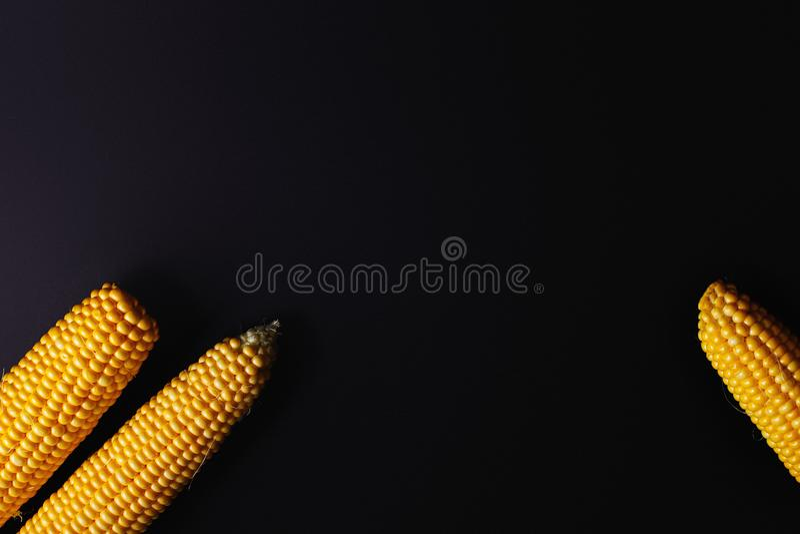 在黑色的黄色玉米 顶视图 免版税库存照片