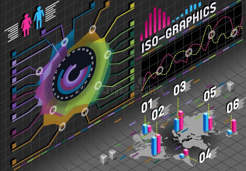 在黑色的Infographic花直方图集合要素 库存例证