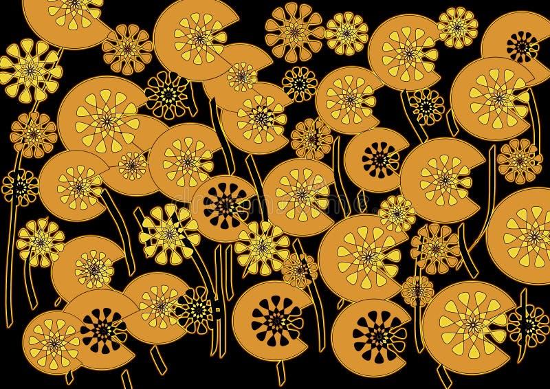 在黑色背景的明亮的现代抽象花卉设计 免版税库存照片