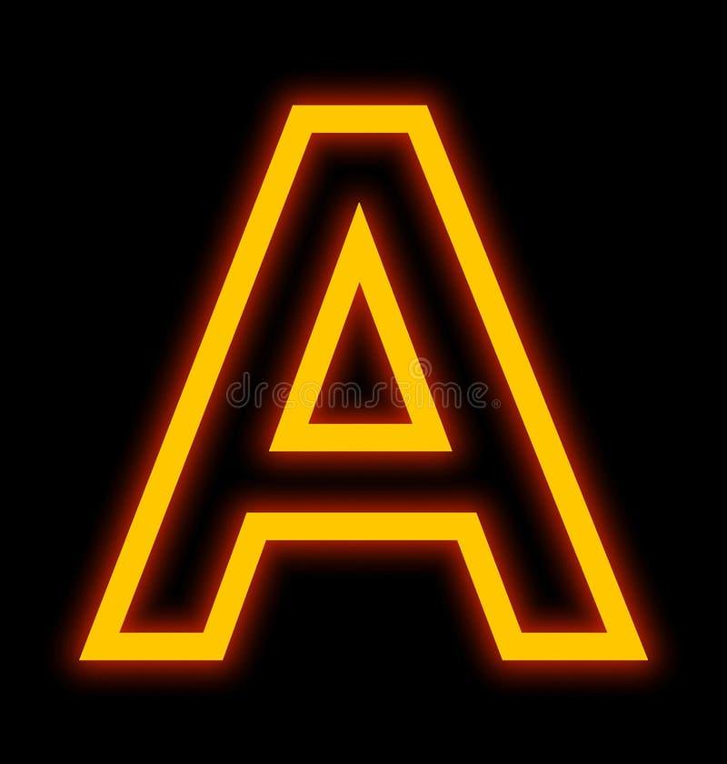 在黑色被概述隔绝的A霓虹灯上写字 皇族释放例证