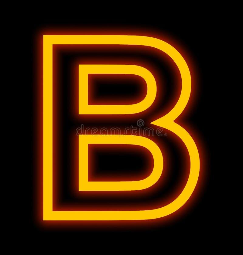 在黑色被概述隔绝的B霓虹灯上写字 皇族释放例证