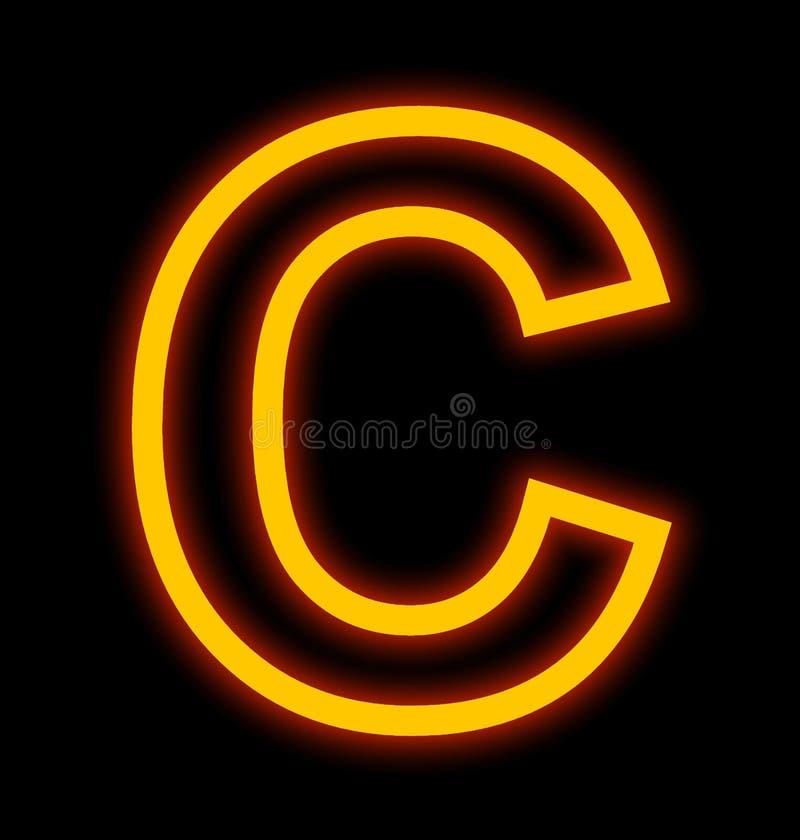 在黑色被概述隔绝的C霓虹灯上写字 库存例证