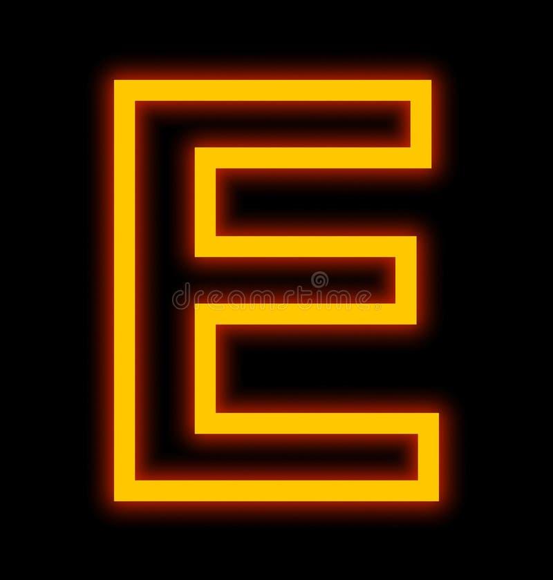 在黑色被概述隔绝的E霓虹灯上写字 向量例证