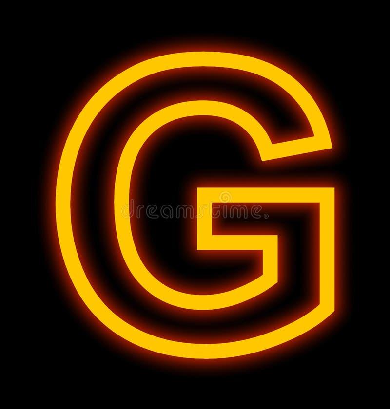 在黑色被概述隔绝的G霓虹灯上写字 皇族释放例证