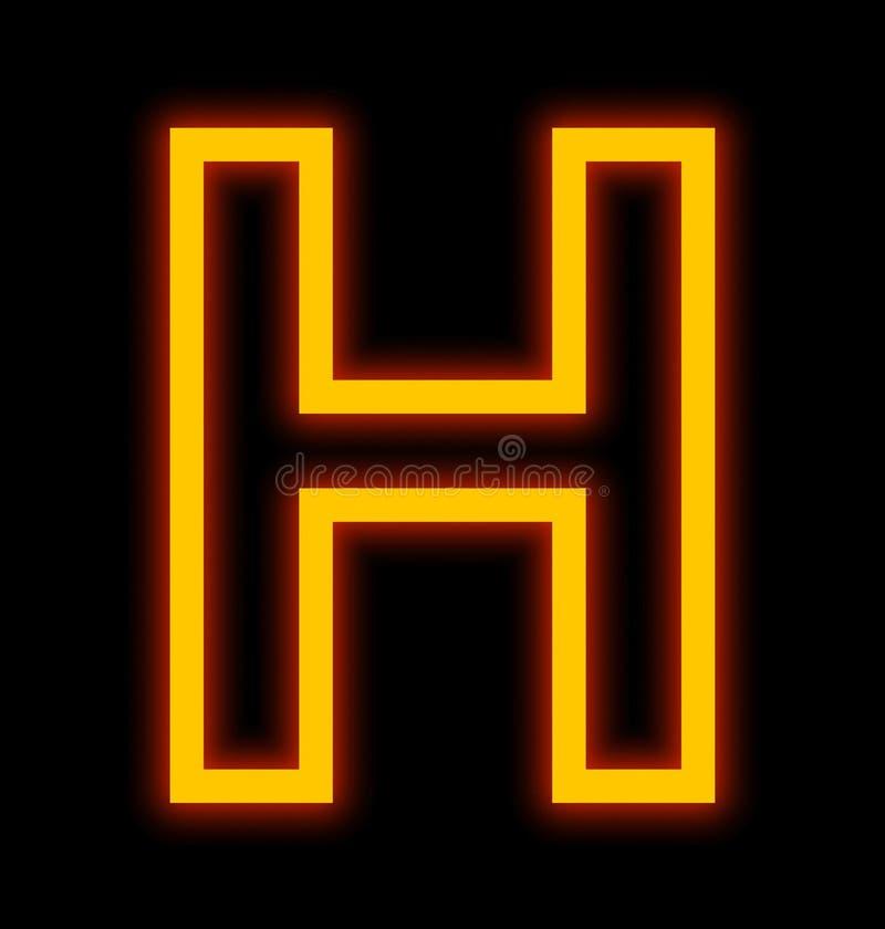 在黑色被概述隔绝的H霓虹灯上写字 皇族释放例证