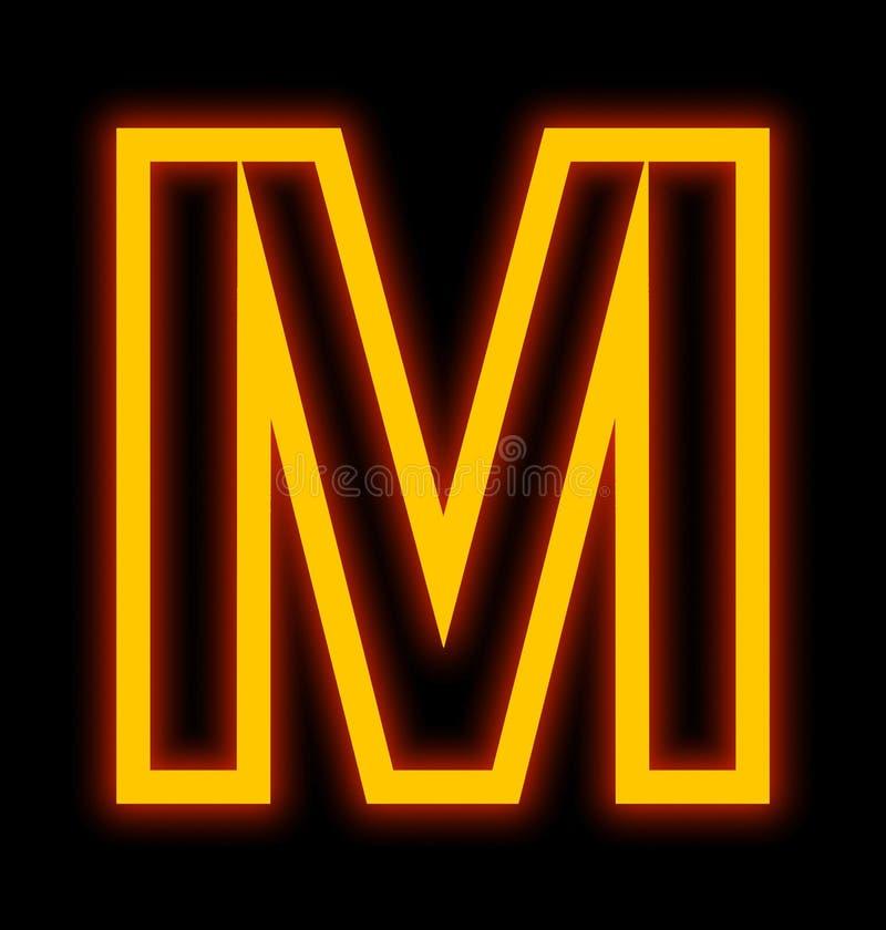 在黑色被概述隔绝的M霓虹灯上写字 皇族释放例证
