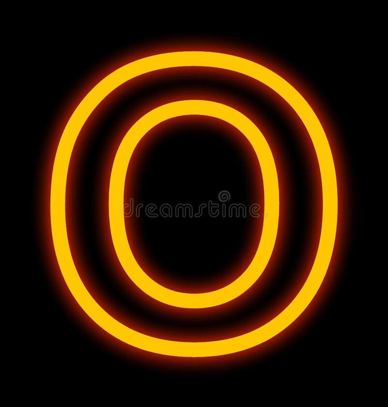 在黑色被概述隔绝的O霓虹灯上写字 皇族释放例证