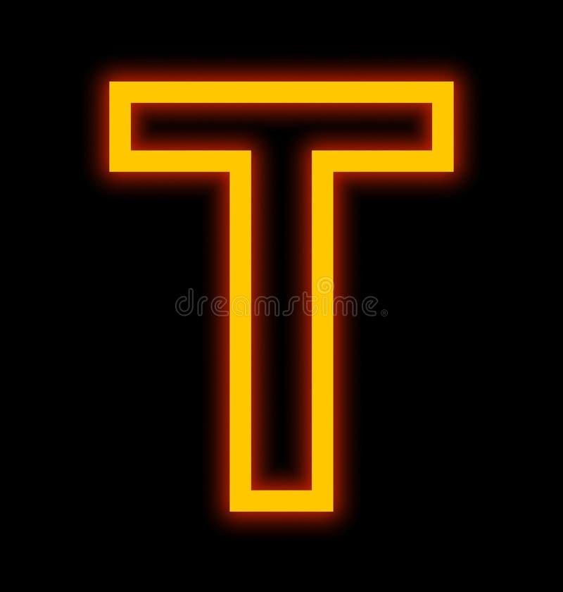 在黑色被概述隔绝的T霓虹灯上写字 库存例证