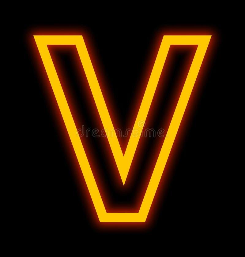 在黑色被概述隔绝的V霓虹灯上写字 向量例证