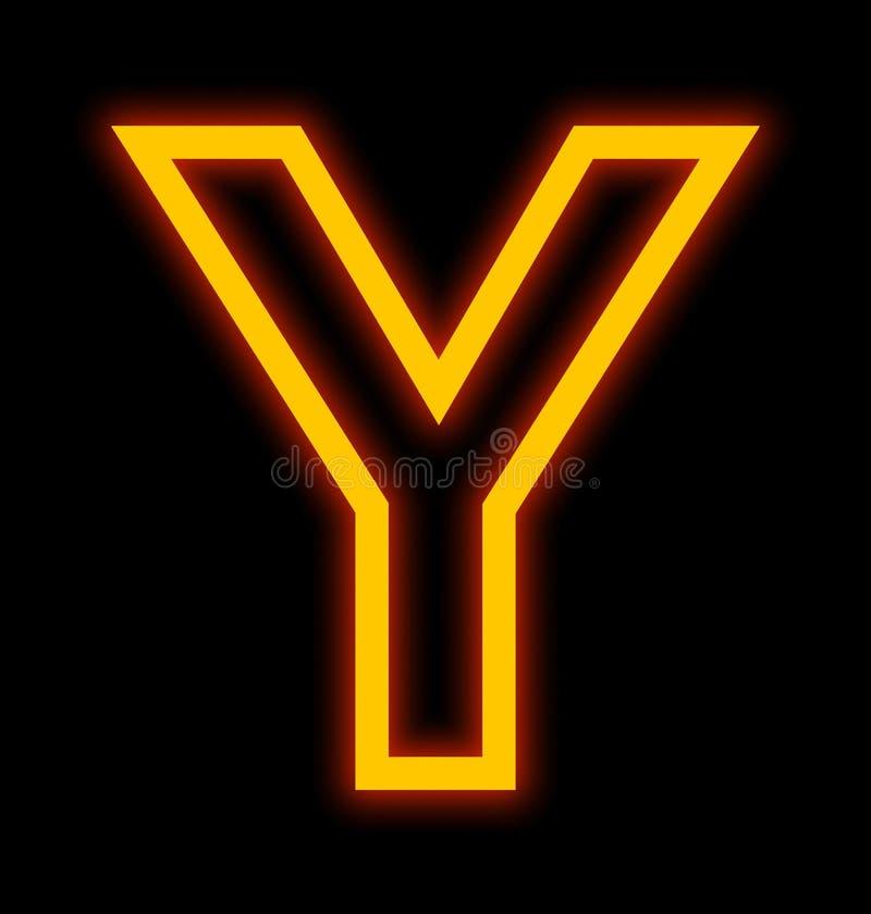在黑色被概述隔绝的Y霓虹灯上写字 向量例证