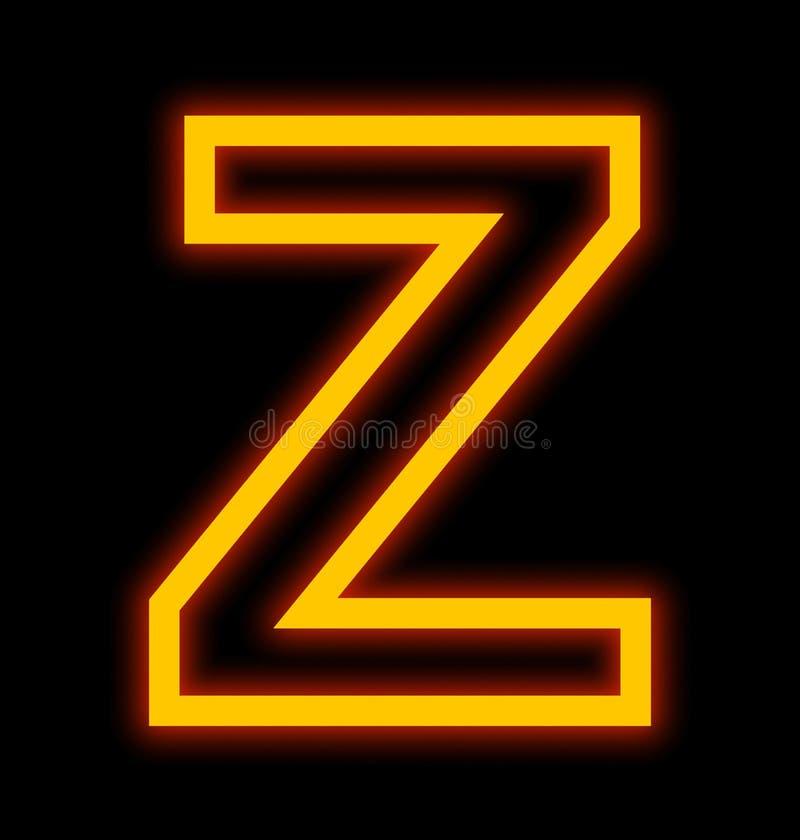 在黑色被概述隔绝的Z霓虹灯上写字 向量例证