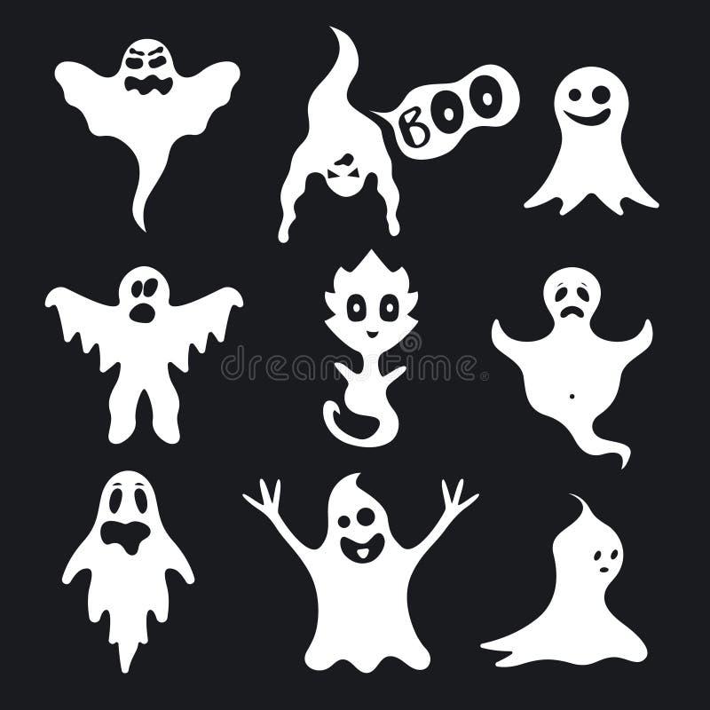 在黑色设置的动画片白色鬼魂字符 向量 皇族释放例证
