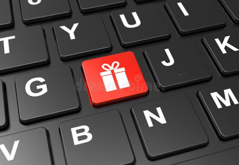 在黑色键盘上用礼品标志关闭红色按钮。在黑色键盘上用礼品标志关闭红色按钮:3Då›¾ 免版税库存图片