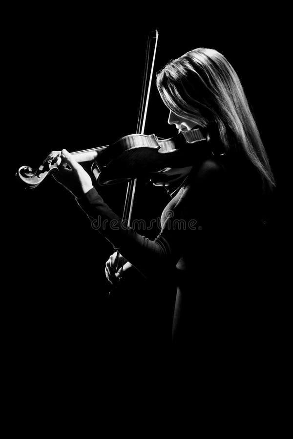 在黑色隔绝的小提琴手 免版税图库摄影