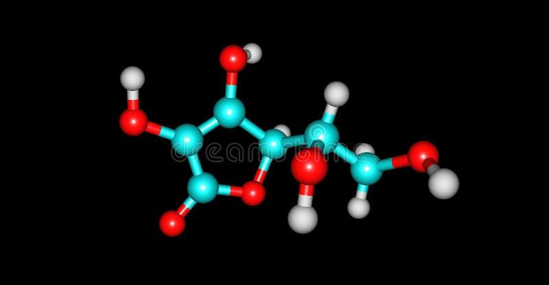 在黑色隔绝的抗坏血酸分子结构 向量例证