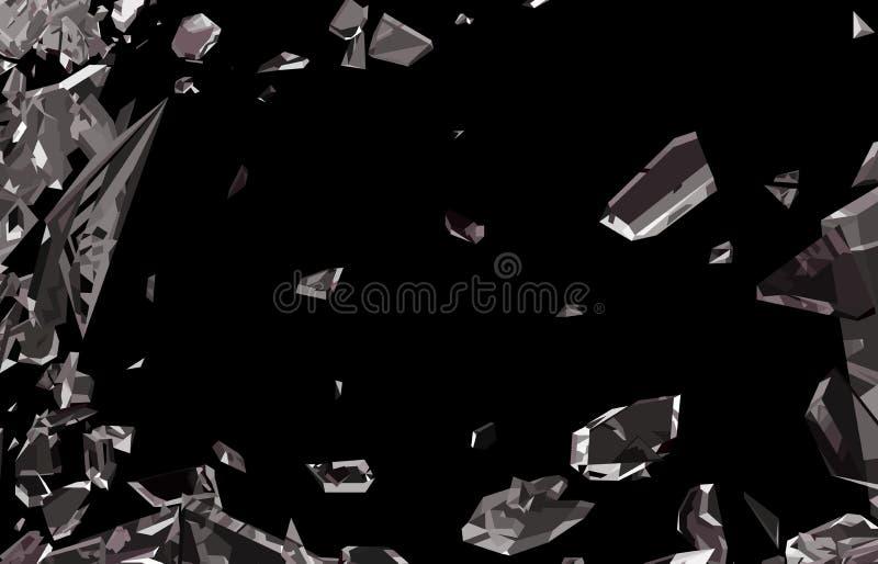 在黑色隔绝的捣毁的和被打碎的玻璃 库存例证