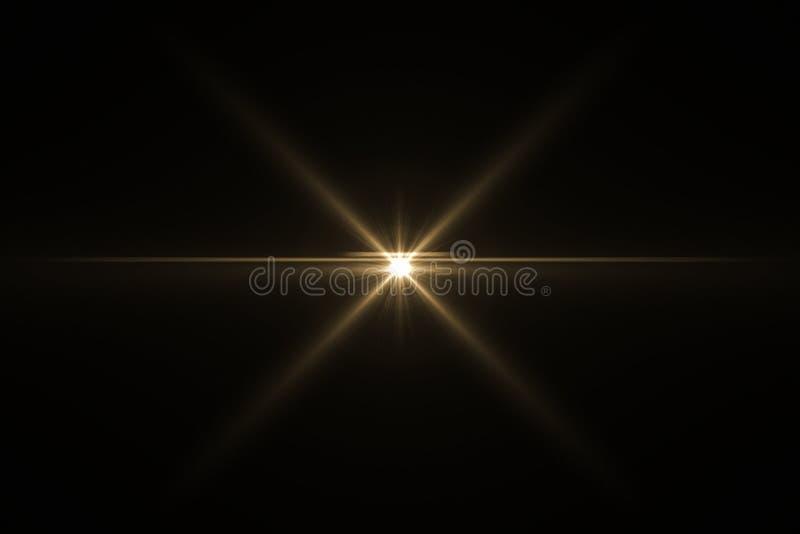 在黑色隔绝的透镜火光 向量例证