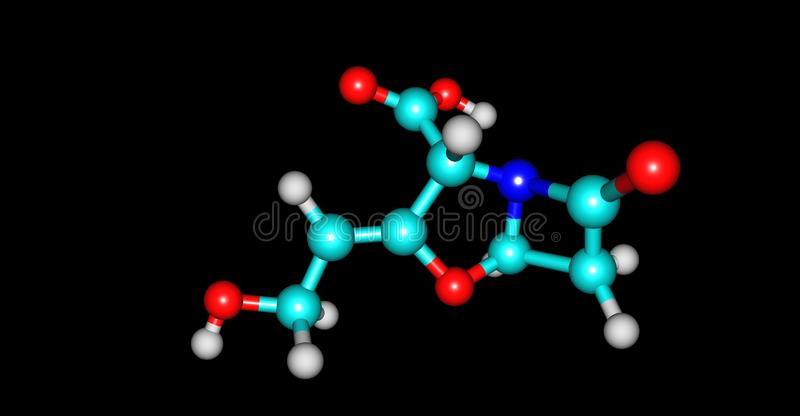 在黑色隔绝的Clavulanic酸分子结构 库存例证
