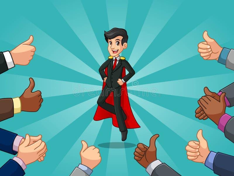 在黑衣服的超级英雄商人与许多赞许和拍的手 库存例证