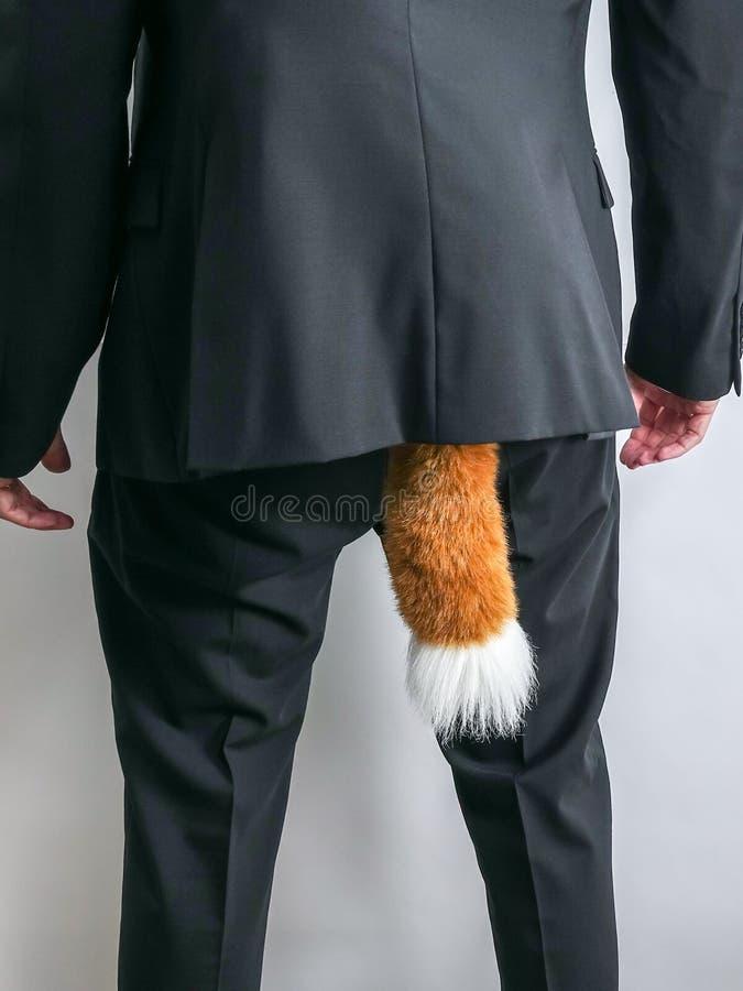 在黑衣服的鬼祟商人与狐狸尾巴 图库摄影
