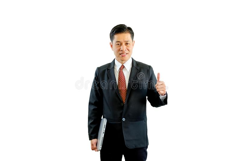 在黑衣服藏品膝上型计算机的商人和承认 库存图片