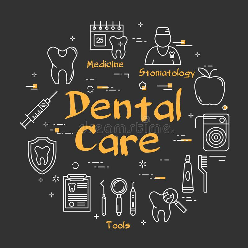 在黑黑板的线性回合牙齿保护概念 皇族释放例证