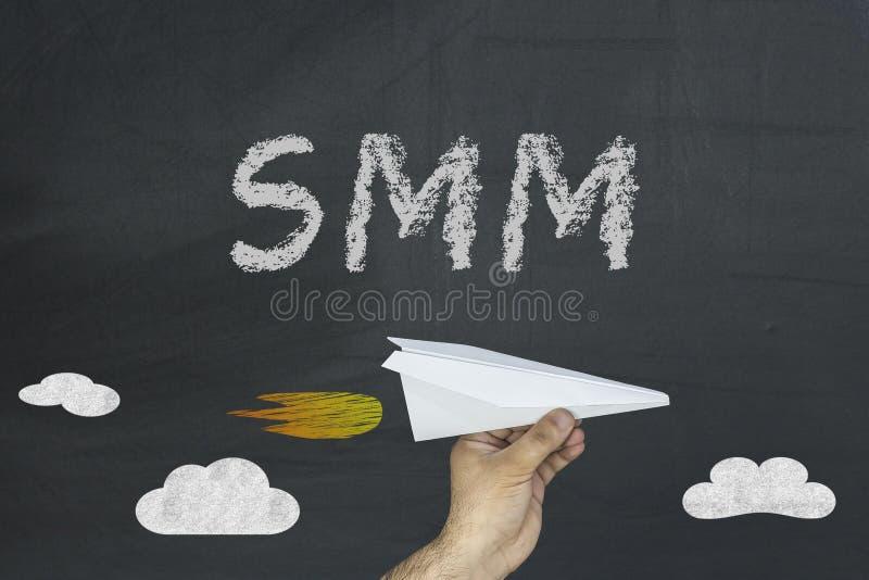 在黑黑板的SMM概念 免版税库存照片
