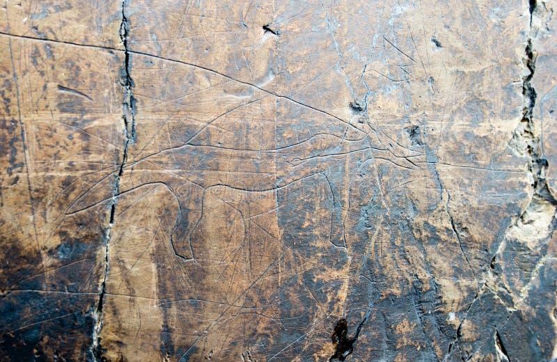 在黑龙江的银行的刻在岩石上的文字在宝路华附近村庄的  俄国远东岩石绘画的哈巴罗夫斯克边疆区  免版税图库摄影
