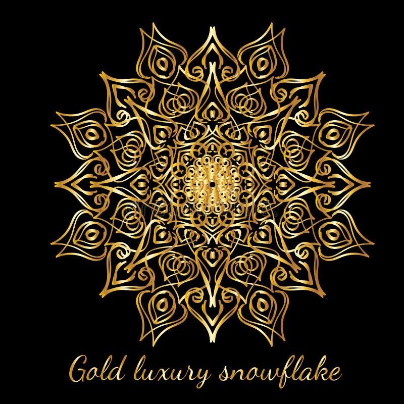 在黑b隔绝的金美丽的华丽抽象雪花 库存例证
