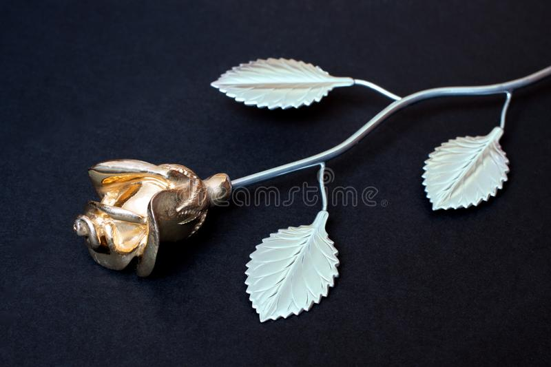 在黑backgr隔绝的白色和金金属玫瑰  免版税库存图片